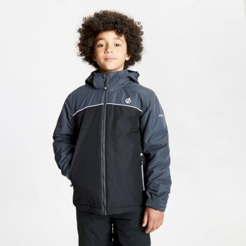 Kids' Impose Waterproof Insulated Hooded Ski Jacket Black Ebony Grey