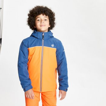Kids' Impose Waterproof Insulated Hooded Ski Jacket Blaze Orange Dark Denim