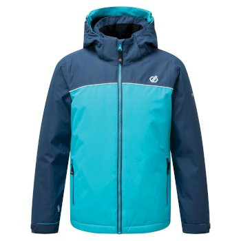 Kids' Impose Waterproof Insulated Hooded Ski Jacket Ceramic Blue Dark Denim