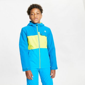 Kids' Enigmatic Waterproof Insulated Hooded Ski Jacket Petrol Blue Lime Punch