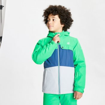 Kids' Enigmatic Waterproof Insulated Hooded Ski Jacket Vivid Green Space Grey