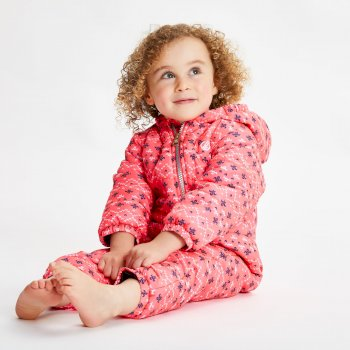 Kids' Bambino II Waterproof Insulated Snowsuit Neon Pink Alpine Print