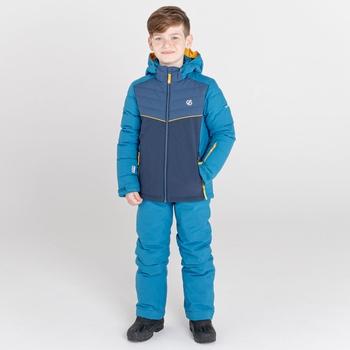 Kids' Cheerful Waterproof Insulated Ski Jacket Dark Methyl Dark Denim Nightfall Navy