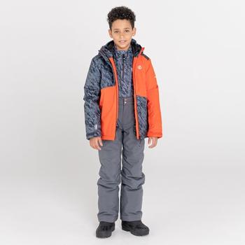 Kids' Glee Waterproof Ski Jacket Amber Glow Black Shard Print