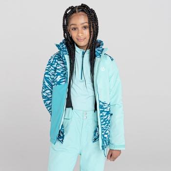 Kids' Glee Waterproof Ski Jacket Aruba Blue Zebra Print