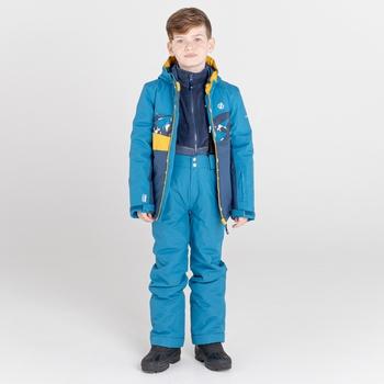 Kids' Humour Waterproof Ski Jacket Dark Denim Geometric Print