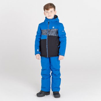 Kids' Humour Waterproof Ski Jacket Lapis Blue Black Shard Print