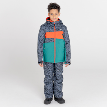 Kids' Humour Waterproof Ski Jacket Black Shard Print Alpine Forest