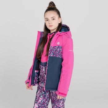 Kids' Humour Waterproof Ski Jacket Rasberry Rose Snow Leopard Print