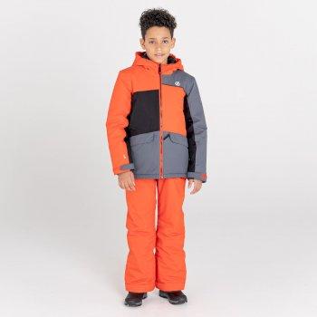 Kids' Remarkable Waterproof  Ski Jacket Amber Glow Dark Storm Black