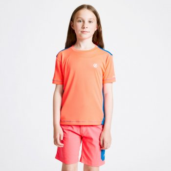 Kids' Bring It On T-Shirt Fiery Coral Petrol Blue