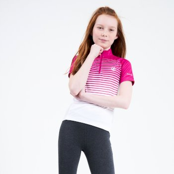 Kids' Go Faster Half Zip Cycle Jersey Active Pink White