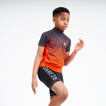 Kids' Go Faster Half Zip Cycle Jersey Ebony Grey Trail Blaze Red