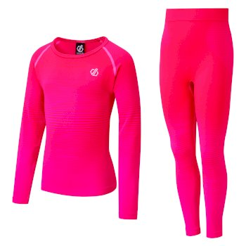 Kids' In The Zone Base Layer Set Neon Pink Gradient
