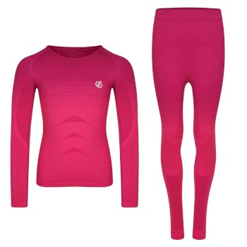 Kids' In The Zone Base Layer Set Cyber Pink Gradient