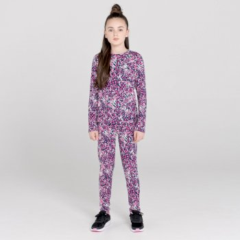 Kids' Partition Base Layer Set Raspberry Rose Snow Leopard Print
