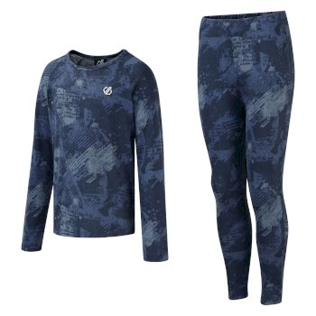 Kids' Partition Base Layer Set Dark Denim Geo Camo Print
