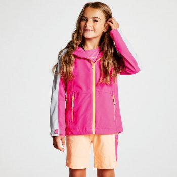 Kids' Avail Seamsmart Lightweight Hooded Waterproof Jacket Cyber Pink Argent Grey