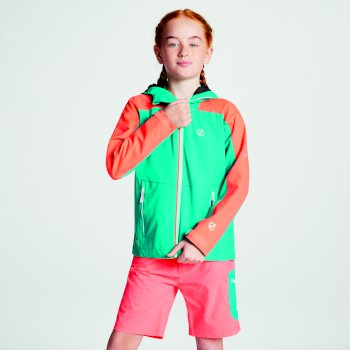 Kids' Avail Seamsmart Lightweight Hooded Waterproof Jacket Caribbean Green Fiery Coral