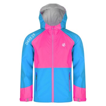 Kids' Affiliate Lightweight Hooded Waterproof Jacket Atlantic Blue Cyber Pink
