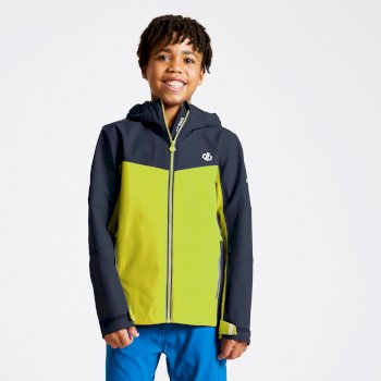 Kids' In The Lead Waterproof Jacket Outerspace Blue Lime Punch