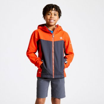 Kids' In The Lead Waterproof Jacket Trail Blaze Red Ebony Grey