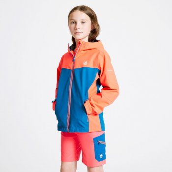 Kids' In The Lead Waterproof Jacket Fiery Coral Petrol Blue