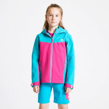 Kids' In The Lead Waterproof Jacket Aqua Blue Active Pink