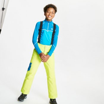 Kids' Timeout II Waterproof Insulated Ski Pants Lime Punch Petrol Blue