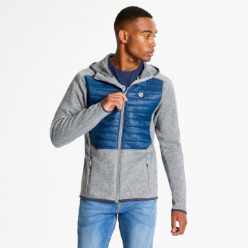 Men's Galore Hybrid Full Zip Hooded Midlayer Ash Grey Admiral Blue