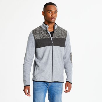 Men's Incluse Full Zip Knit Effect Fleece Ash Marl