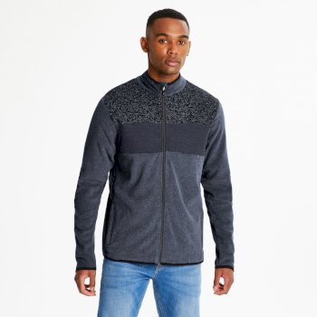 Men's Incluse Full Zip Knit Effect Fleece Charcoal Grey