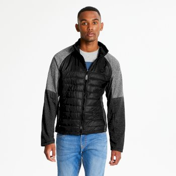Men's Sparked Full Zip Stretch Midlayer Black Charcoal