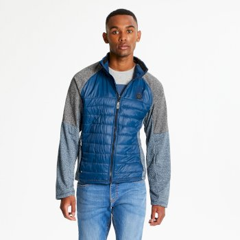 Men's Sparked Full Zip Stretch Midlayer Admiral Blue Charcoal