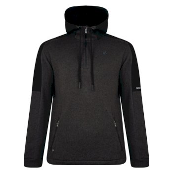 Men's Comply Half Zip Hooded Fleece Charcoal Grey Marl Black