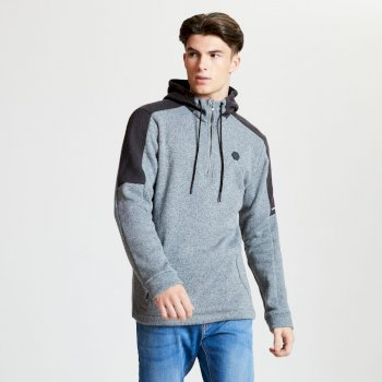 Men's Comply Half Zip Hooded Fleece Ash Charcoal Grey Marl