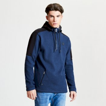 Men's Comply Half Zip Hooded Fleece Admiral Blue Black