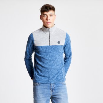 Men's Obstinate Half Zip Lightweight Fleece Admiral Blue Marl Ash
