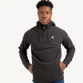 Men's Forgo Half Zip Hooded Fleece Ebony Grey