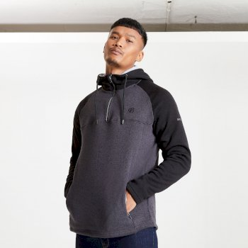 Men's Contradict Half Zip Hooded Fleece Sweatshirt Charcoal Grey