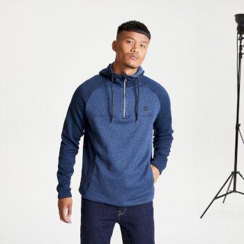 Men's Contradict Half Zip Hooded Fleece Sweatshirt Dark Denim