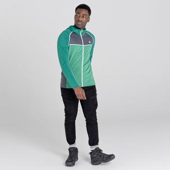 Men's Perennial Full Zip Hooded Stretch Midlayer Ultramarine Green Ebony Grey
