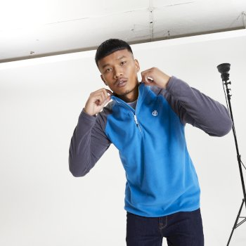 The Jenson Button Edit - Men's Freethink II Half Zip Fleece Petrol Blue Ebony Grey