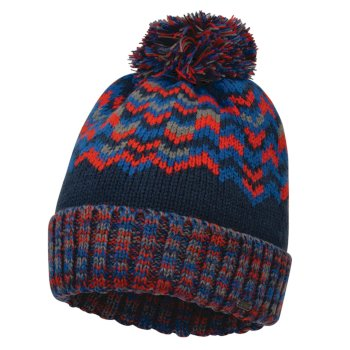 Men's Headstrong Bobble Hat Admiral Blue Fiery Red