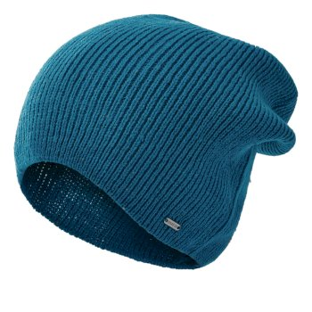 Men's Thesis II Ribbed Beanie Petrol Blue Ebony Grey