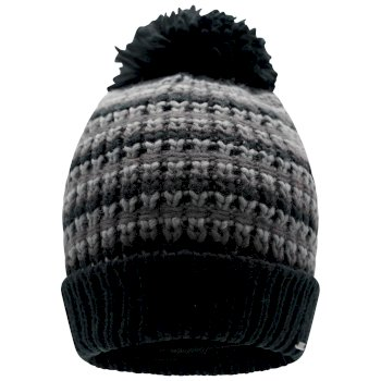 Men's Mind Over II Fleece Lined Knit Bobble Beanie Black Ebony Grey