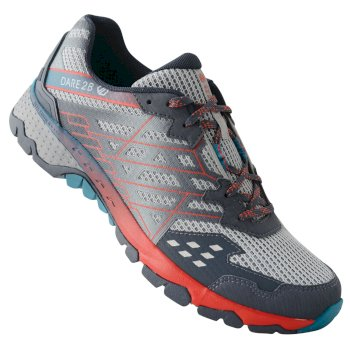 Men's Razor II Shock Absorbing Trail Shoes Gravity Grey Fiery Red