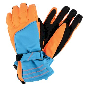 Men's Out Ranked Ski Gloves Methyl Blue Vibrant Orange