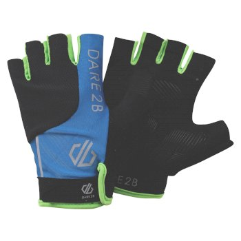 Men's Forcible Fingerless Cycling Gloves Petrol Blue Black