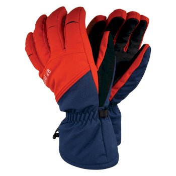 Men's Hold On Stretch Ski Gloves Admiral Blue Fiery Red
